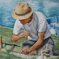Fisherman oil on canvas representing a and his fishing net Stock Photos