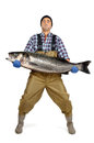 Fisherman posing with the catch isolated in white Stock Image