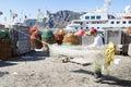 Greenlandic fisherman preparing nets Royalty Free Stock Photo