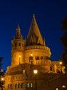 The Fisherman's Bastion Budapest Hungary Illuminated at Night Royalty Free Stock Photo