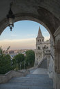 Fisherman's Bastion (Halaszbastya) fortification under pink sunset sky with Knight sculptures in Budapest, Hungary. Royalty Free Stock Photo