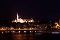 Fisherman's Bastion near Danube river at night Royalty Free Stock Photo