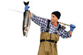 Fisherman s catch posing with the isolated in white Royalty Free Stock Photography
