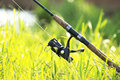 Fisherman`s fishing rod with inertia-free coil in summer on shore of lake Royalty Free Stock Photo