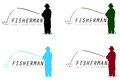 Fisherman signs illustrated set of with copy space isolated on white background Stock Images