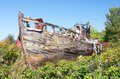 Fisherman smack wreck an old wooden fishing hull Royalty Free Stock Images
