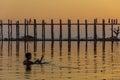 Fisherman and sunset at u bein teakwood bridge amarapura in m myanmar burmar Royalty Free Stock Images