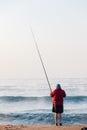 Fisherman Surf Waves Sunrise Beach Holidays Royalty Free Stock Photo