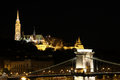 Fisherman towers and Chain bridge by night Budapest Royalty Free Stock Photo