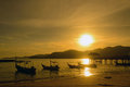 Fisherman village sunset at the in penang malaysia Royalty Free Stock Photography
