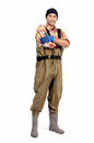 Fisherman with waders isolated in white Royalty Free Stock Photography