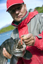 Fisherman with wolffish Royalty Free Stock Photo