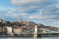 Fishermans bastion in budapest view of the and chain bridge buda side hungary Stock Photography