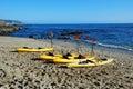 Fishermans Cove with kayaks, Laguna Beach, CA. Royalty Free Stock Photo