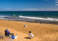Fishermen on the beach costa calida spain two at calblanque nature reserve Stock Photo