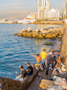 Fishermen in Beirut Royalty Free Stock Photo