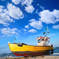 Fishermen boat in the coast of baltic poland Stock Photos