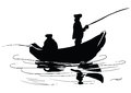 Fishermen in a boat fishing from a boat drawing made ​​by hand vector illustration Royalty Free Stock Photo