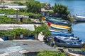 Fishermen boats near Mangalia city Romania Royalty Free Stock Photo