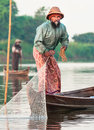 Fishermen catch fish december mandalay in mandalay show ancient way of fishing nets Stock Photo