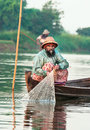 Fishermen catch fish december mandalay in mandalay show ancient way of fishing nets Royalty Free Stock Photography