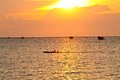 Fishermen drives boat in the evening at chonburi thailand Stock Image