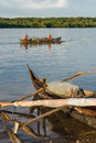 Fishermen going fishing malagasy in an outrigger canoe on april near nosy be madagascar Royalty Free Stock Photography