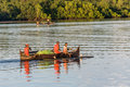 Fishermen going fishing malagasy in an outrigger canoe on april near nosy be madagascar Stock Image
