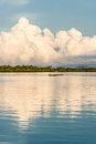 Fishermen going fishing malagasy in an outrigger canoe on april near nosy be madagascar Royalty Free Stock Photo