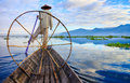 Fishermen in inle lake at sunrise shan state myanmar Royalty Free Stock Photography