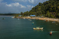 Fishermen jetty at a village in trengganu malaysia vessels ready to go out to sea it was a lovely view Stock Image