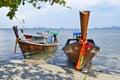 Fishermen long tail boats at Sivalai beach on Mook island