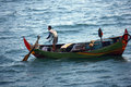 Fishermen looking for fish in the middle of the sea in jepara central java indonesia Royalty Free Stock Images