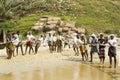 Fishermen pulling a fishing net from the arabian sea kerala india Royalty Free Stock Photos