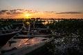 Fishermen`s boats at Rio Paraguay Royalty Free Stock Photo