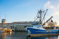 Fishermen s terminal port of seattle wa january commercial fishing vessels moored at both a working dock and tourist Stock Image