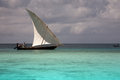 Fishermen on a sailing boat in zanzibar Stock Photography