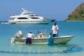 Fishermen in tortola caribbean fishemen boat and nets british virgin island Stock Photos