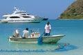 Fishermen in tortola caribbean fishemen boat and nets british virgin island Stock Image