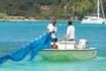 Fishermen in tortola caribbean fishemen boat and nets british virgin island Royalty Free Stock Photo