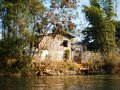 A fishers house at the river in burma Royalty Free Stock Photo