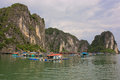 Fishers houses in Halong Bay, Vietnam Stock Photos