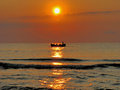 Fishers in sunrise time the black sea Royalty Free Stock Image