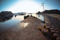 Fishery harbor in the morning Stock Images