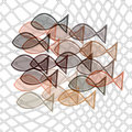 Fishes catched in net Stock Photo