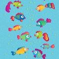 Fishes communicate cartoon seamless pattern