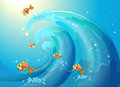 Fishes dancing along the big waves illustration of Royalty Free Stock Photo