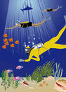 Fishes and divers illustration Stock Photo