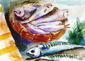 Fishes food an hand drawn illustration watercolors technique Stock Photo
