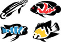 Fishes set of aquarium cichlids color illustration Royalty Free Stock Photography